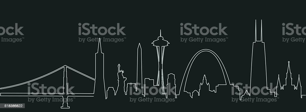 United States City Landmarks Profile vector art illustration