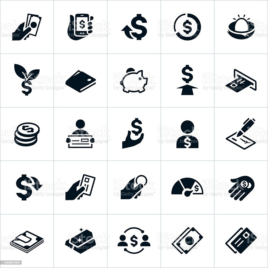 United States Currency and Money Icons vector art illustration