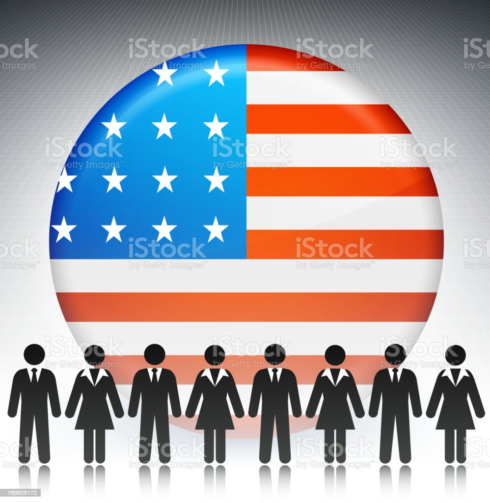 United States Flag Button with Business Concept Stick Figures royalty-free stock vector art