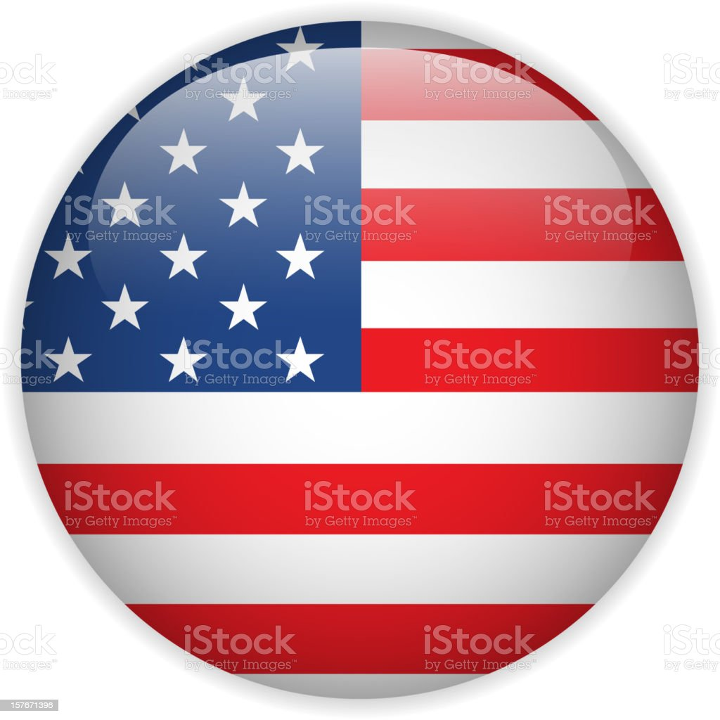 United States Flag Glossy Button royalty-free stock vector art