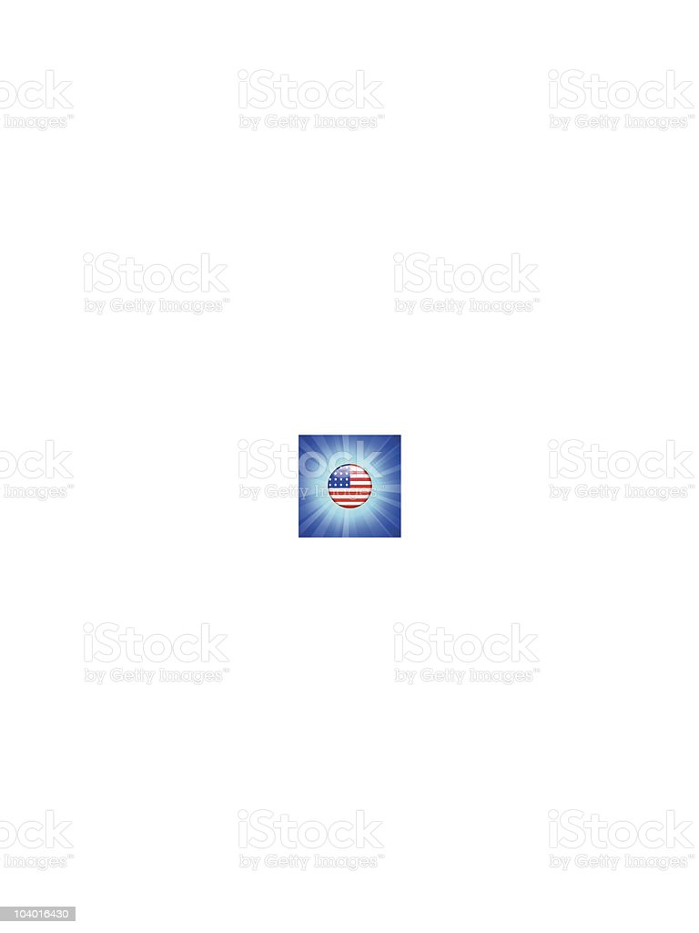 United States Flag Icon on Internet Button royalty-free stock vector art