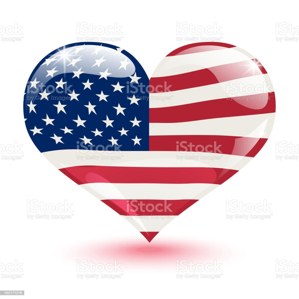 United States flag in the form of heart royalty-free stock vector art