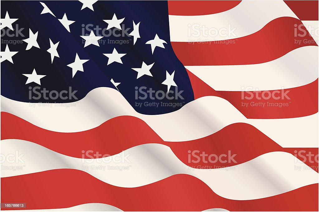 United States Flag Waving vector art illustration
