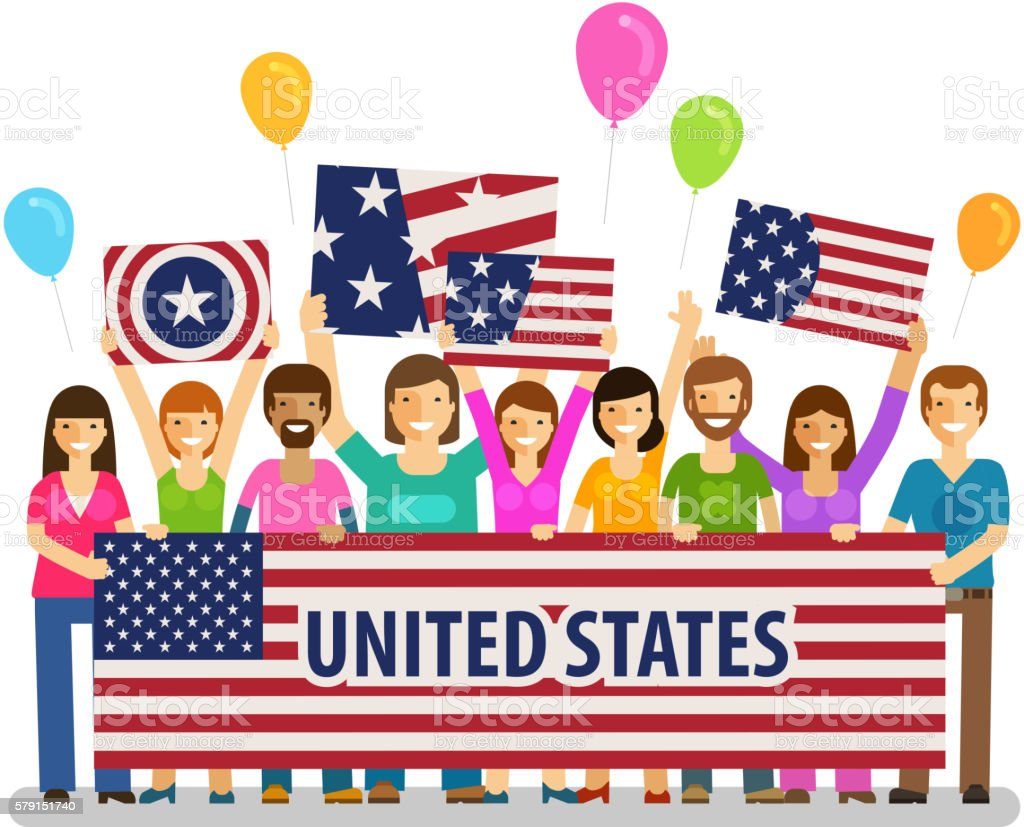 USA, United States. Happy crowd of people with placards at vector art illustration