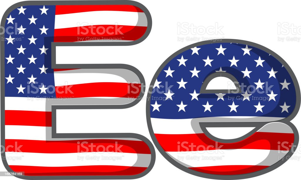United states letter of the alphabet vector art illustration