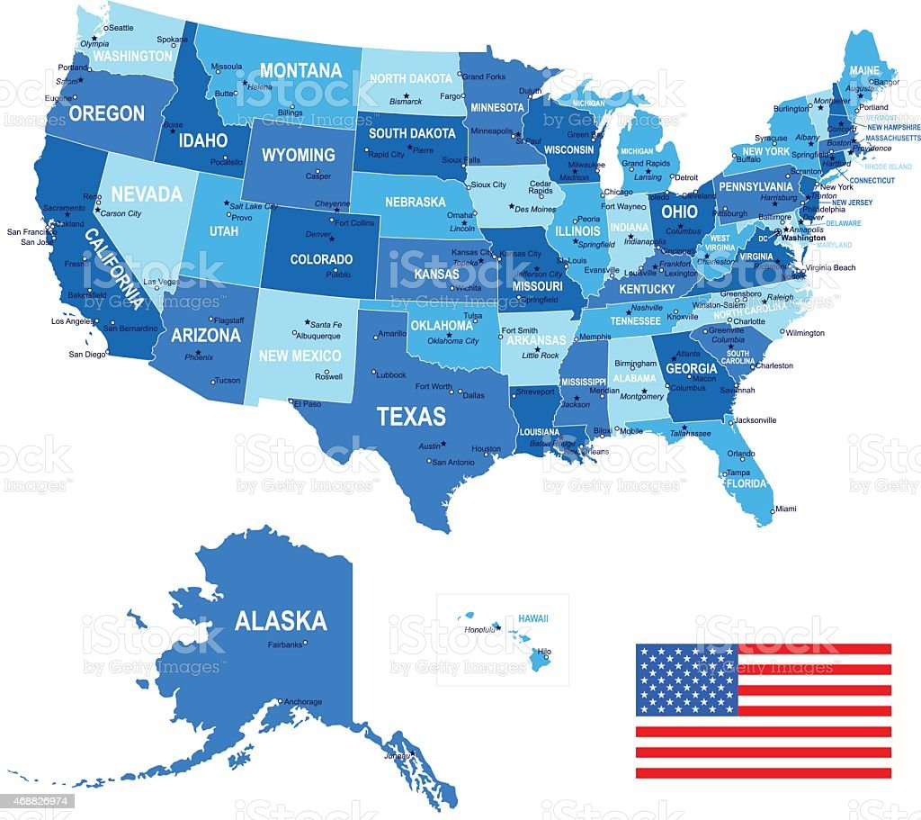 United States (USA) - map, flag and navigation icons - illustration vector art illustration