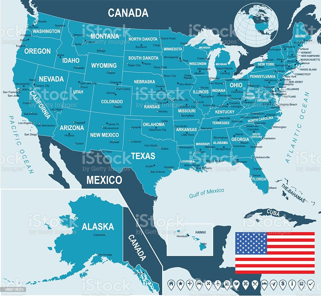 United States Map Flag And Navigation Labels Illustration Stock - Us map with labels