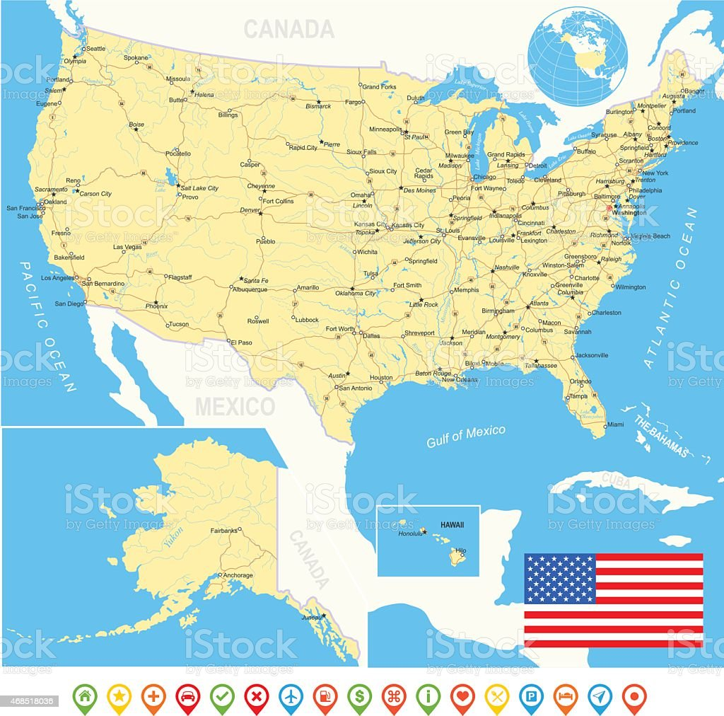 United States (USA) - map, flag, navigation icons, roads, rivers vector art illustration