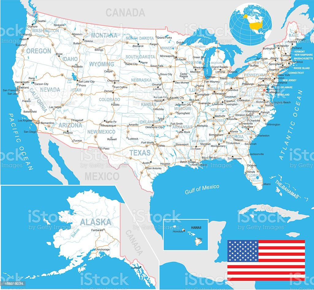 United States (USA) - map, flag, navigation labels, roads - illustration vector art illustration