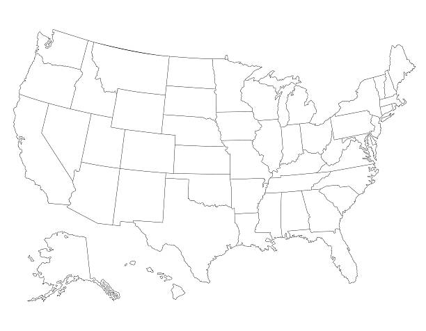Us State Borders Clip Art Vector Images Illustrations IStock - Map of us state borders