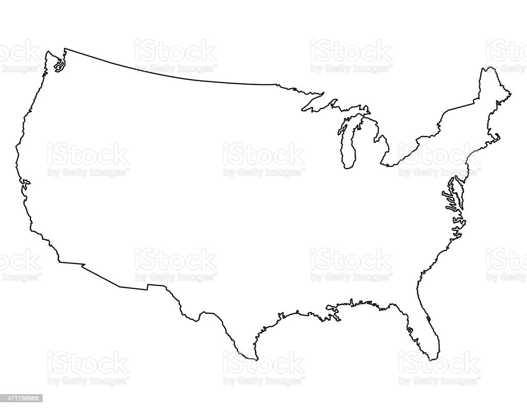 United States map, High detailed border vector art illustration