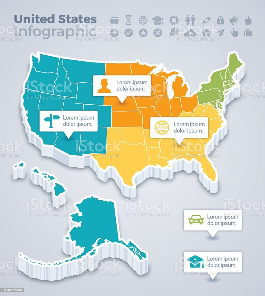 United States Map Infographic Stock Vector Art IStock - Map of us where you can highlight states