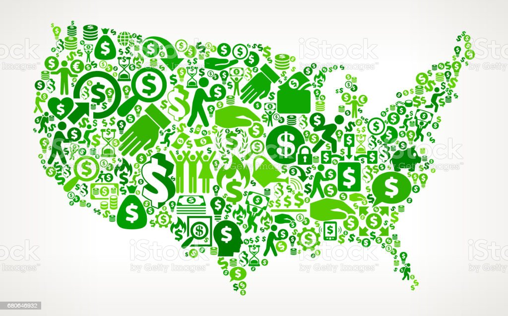 United States Map Money And Finance Green Vector Icon Background - Us map icon