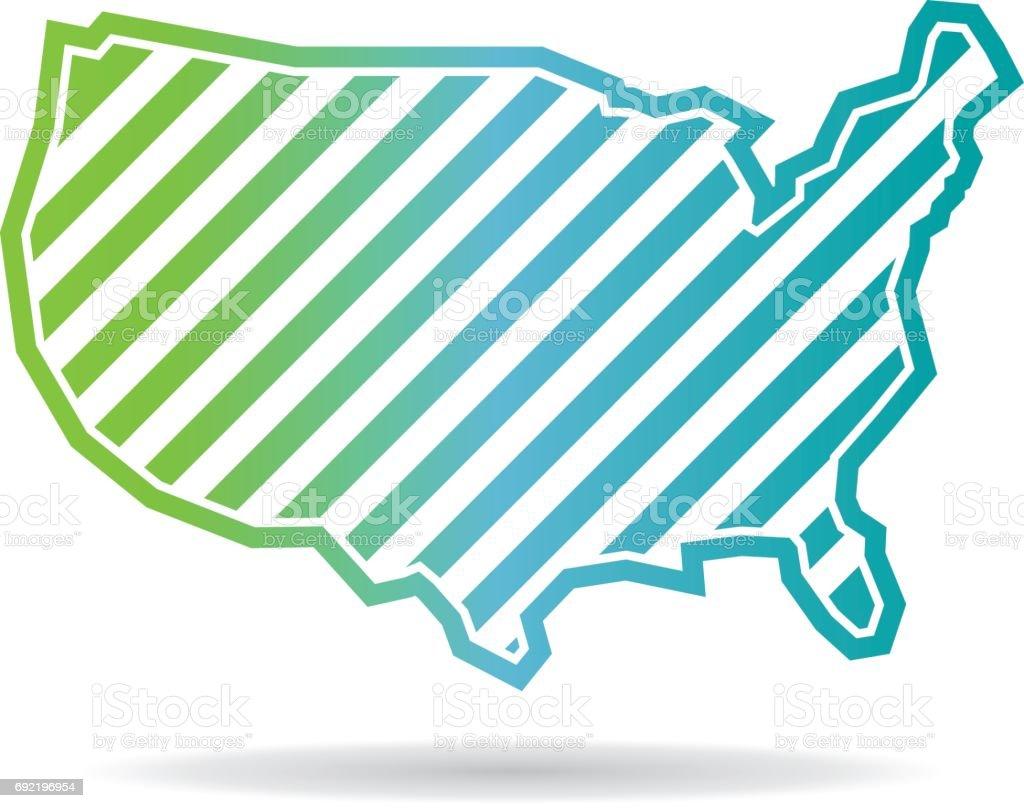 United States Map Oblique Stripes Icon Design Stock Vector Art - Us map icon