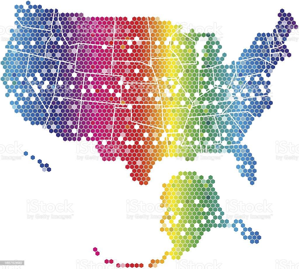 United States Map - rainbow hexagonal pattern vector art illustration