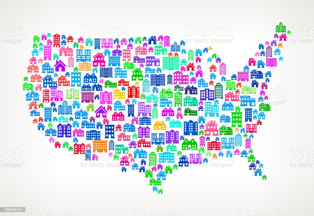 United States Map Real Estate interface icon Pattern vector art illustration