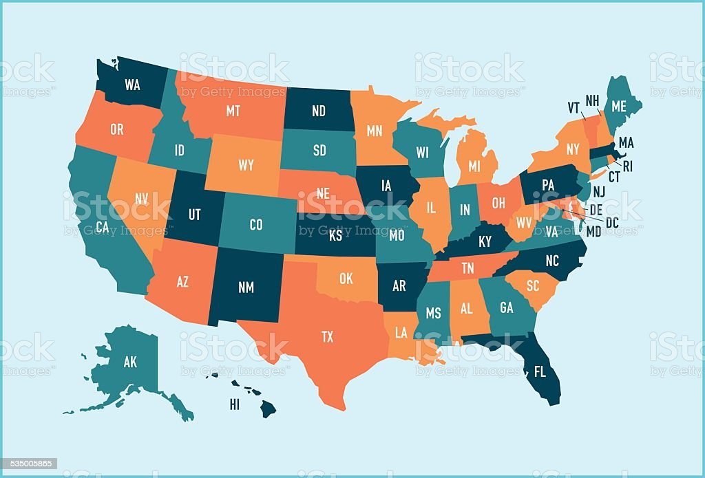 United States Map vector art illustration