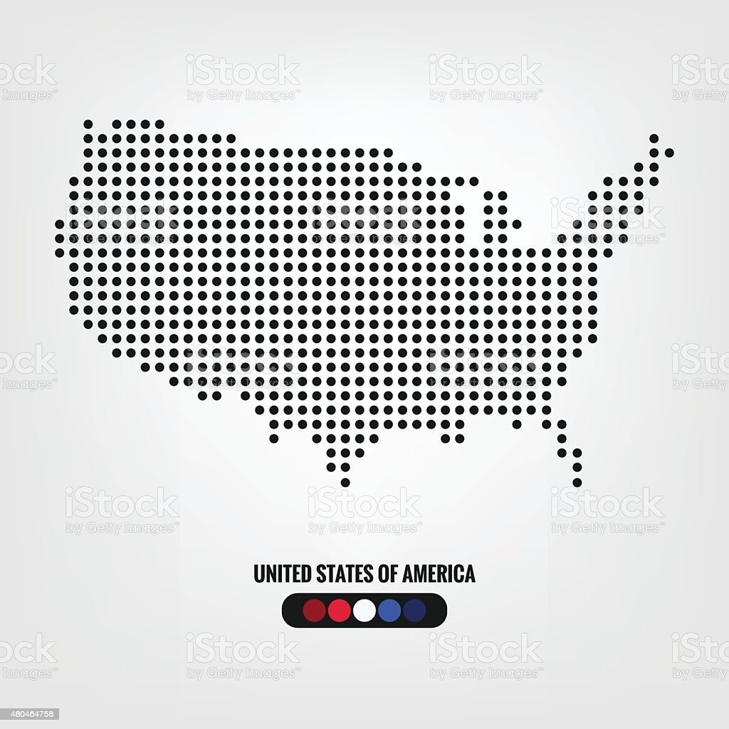 United States Of America Map Dotvector Eps Stock Vector Art - Us map dot