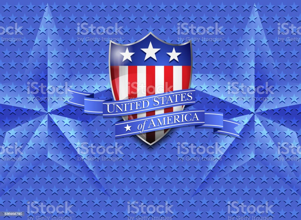 United States of America Shield on a Stars Background vector art illustration