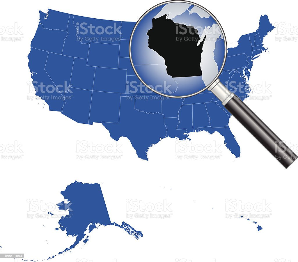 United States Of America Wisconsin Map Stock Vector Art - Map of america wisconsin