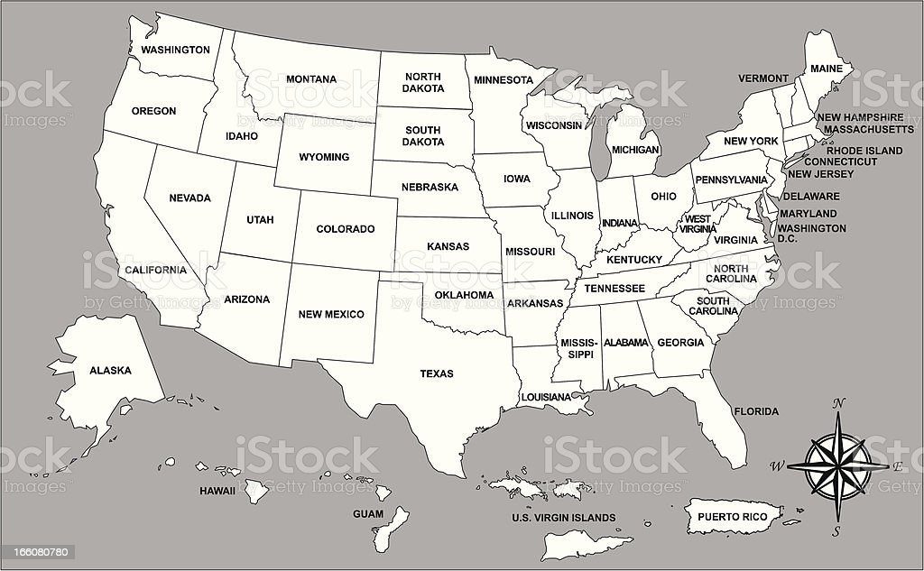 United States Of America With Its Territories Map Stock Vector Art - Us map with compass
