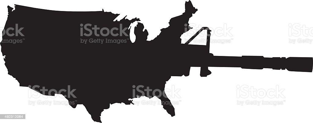 United States Semi-Automatic Weapon vector art illustration