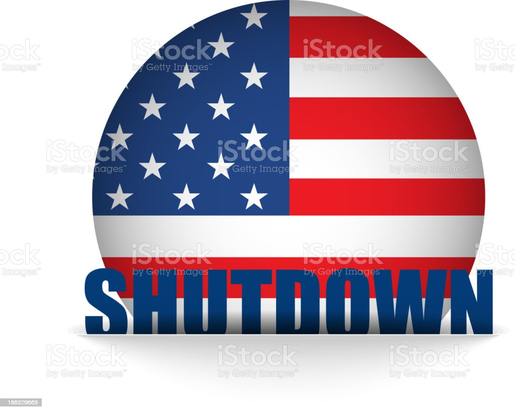 United States Shutdown Government Button royalty-free stock vector art