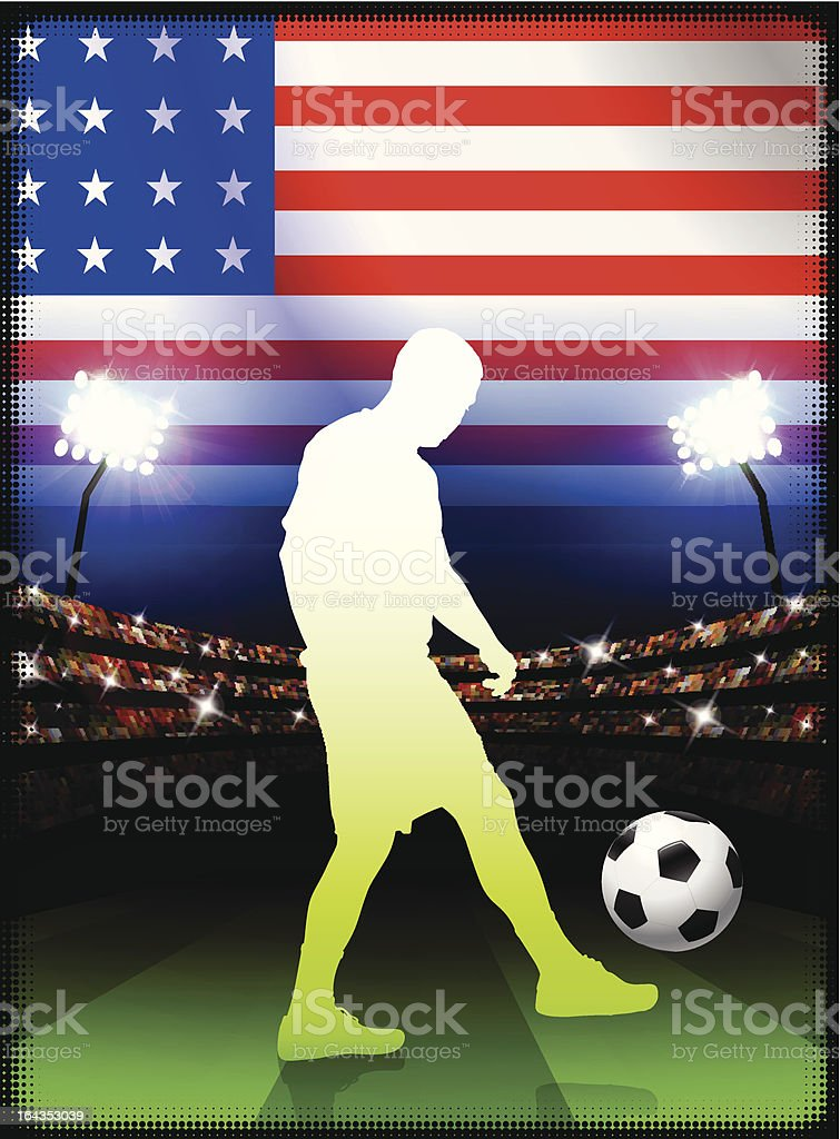 United States Soccer Player on Stadium Background royalty-free stock vector art
