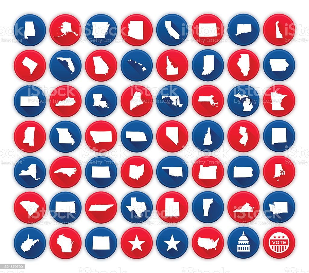 United States State Icons and Symbols vector art illustration