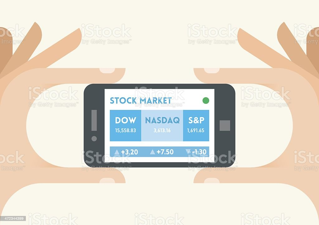 United States stock market indices ticker on the mobile phone vector art illustration