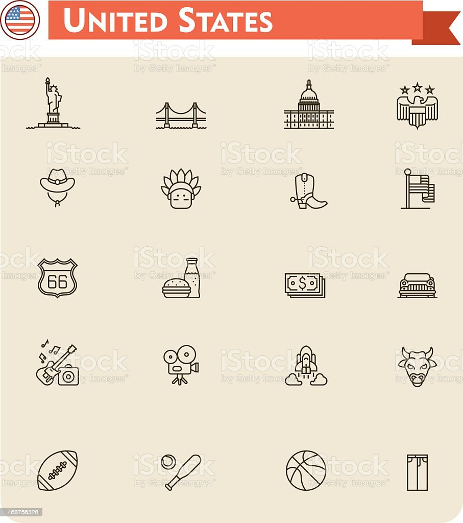 United States travel icon set vector art illustration