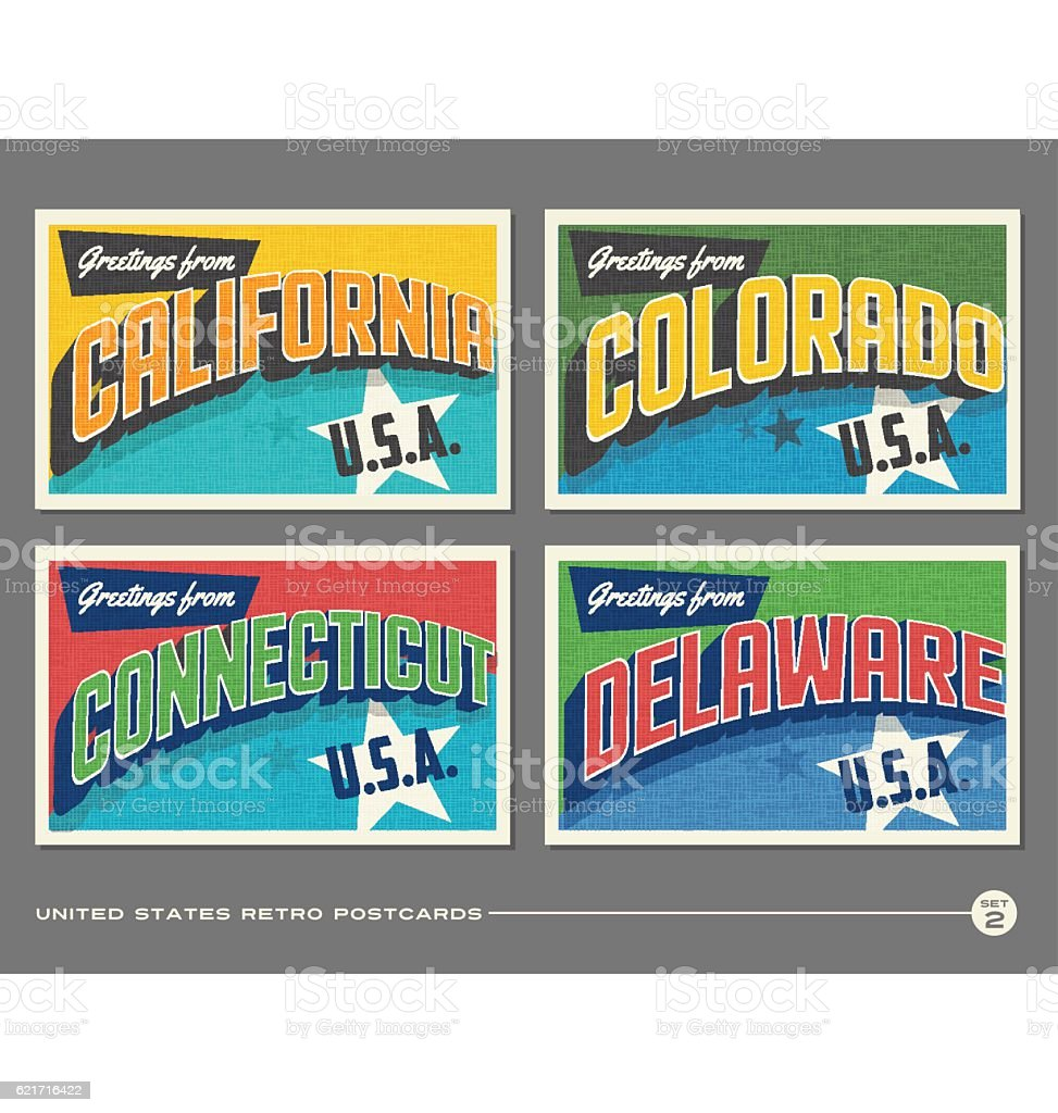 United States vintage typography postcards featuring California, Colorado, Connecticut, Delaware vector art illustration