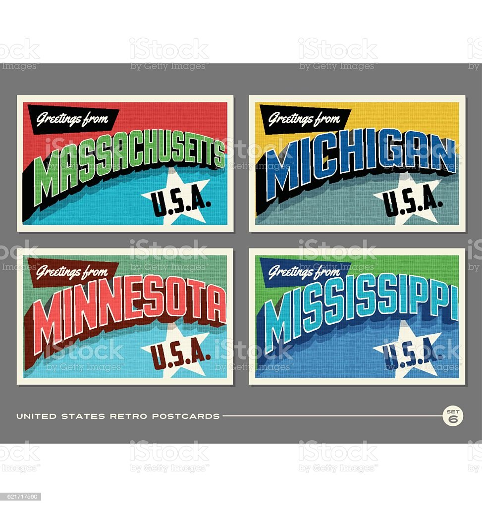 United States vintage typography postcards featuring Massachusetts, Michigan, Minnesota, Mississippi vector art illustration