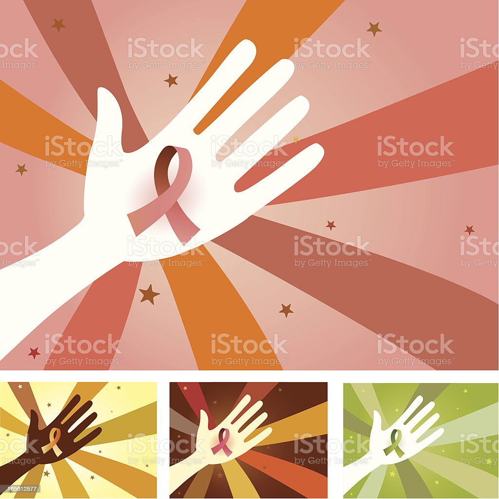Unity Hands - Ribbon for Cause vector art illustration