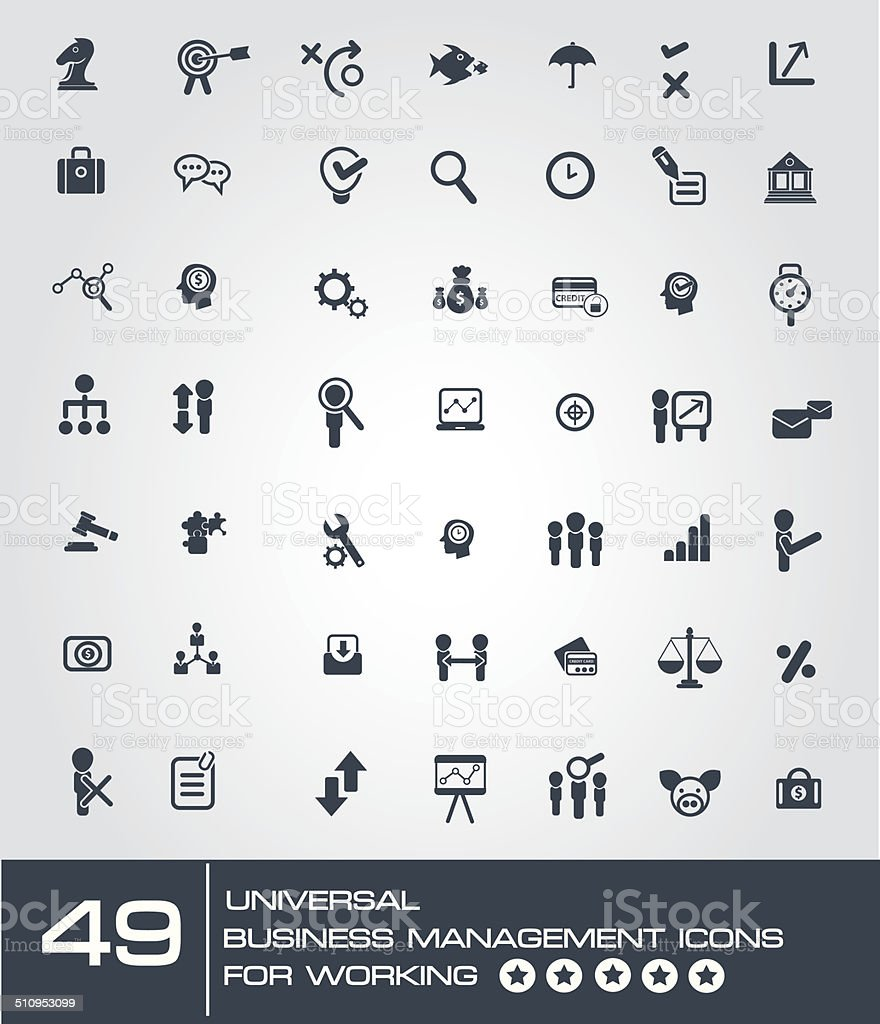 universal business management icon set for working,vector vector art illustration