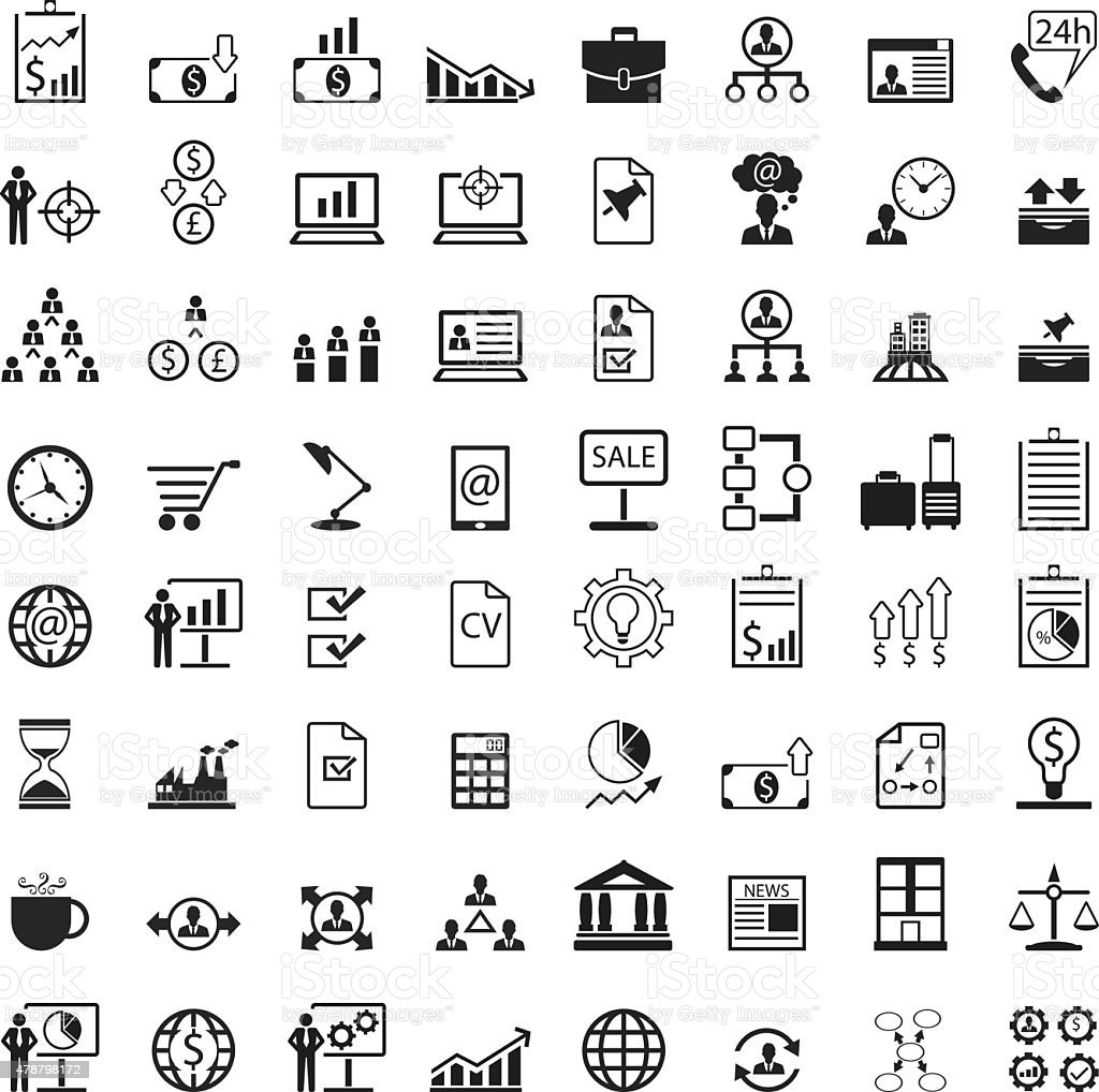 Universal business management icon set vector art illustration