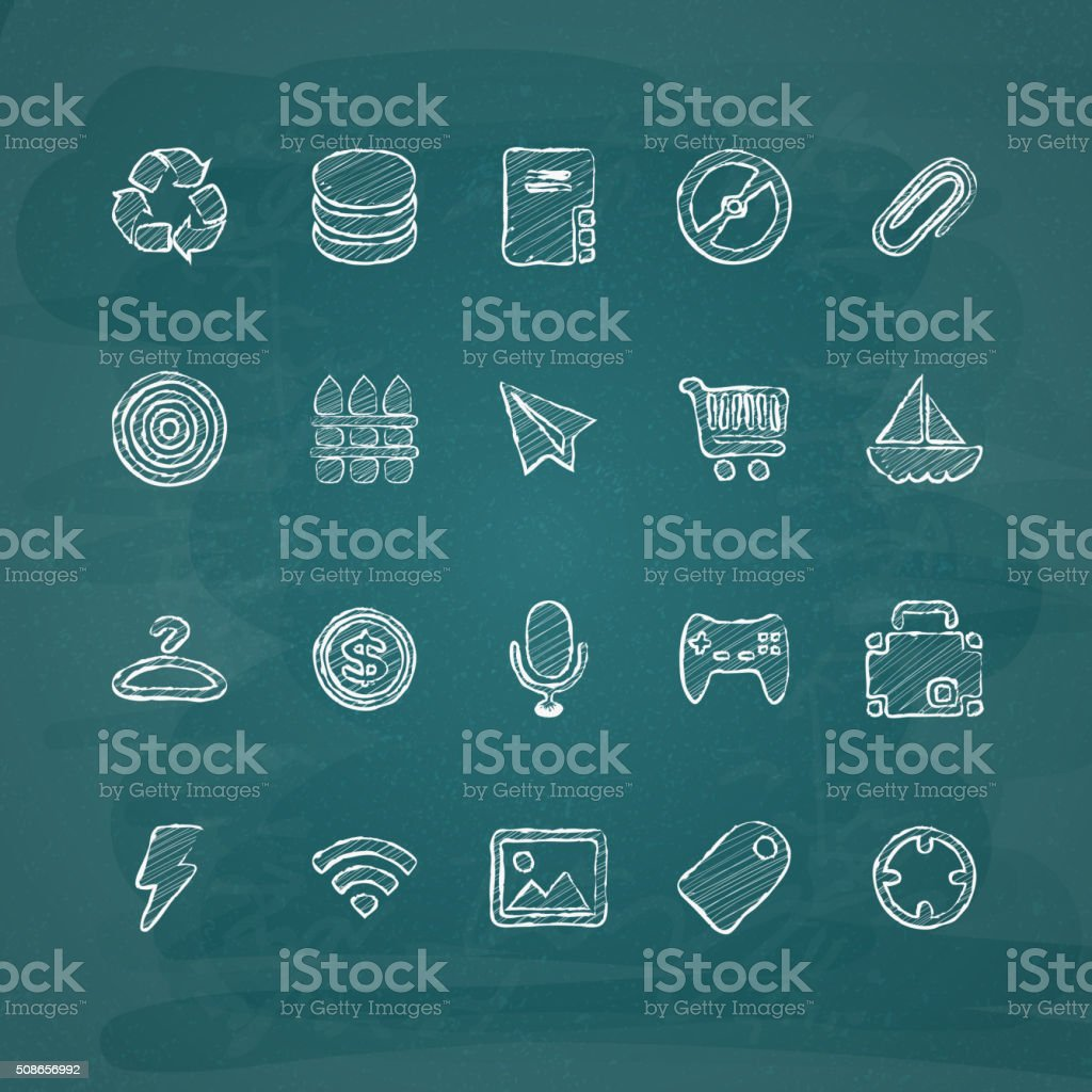 Universal Chalk Icons in doodle style 4 vector art illustration
