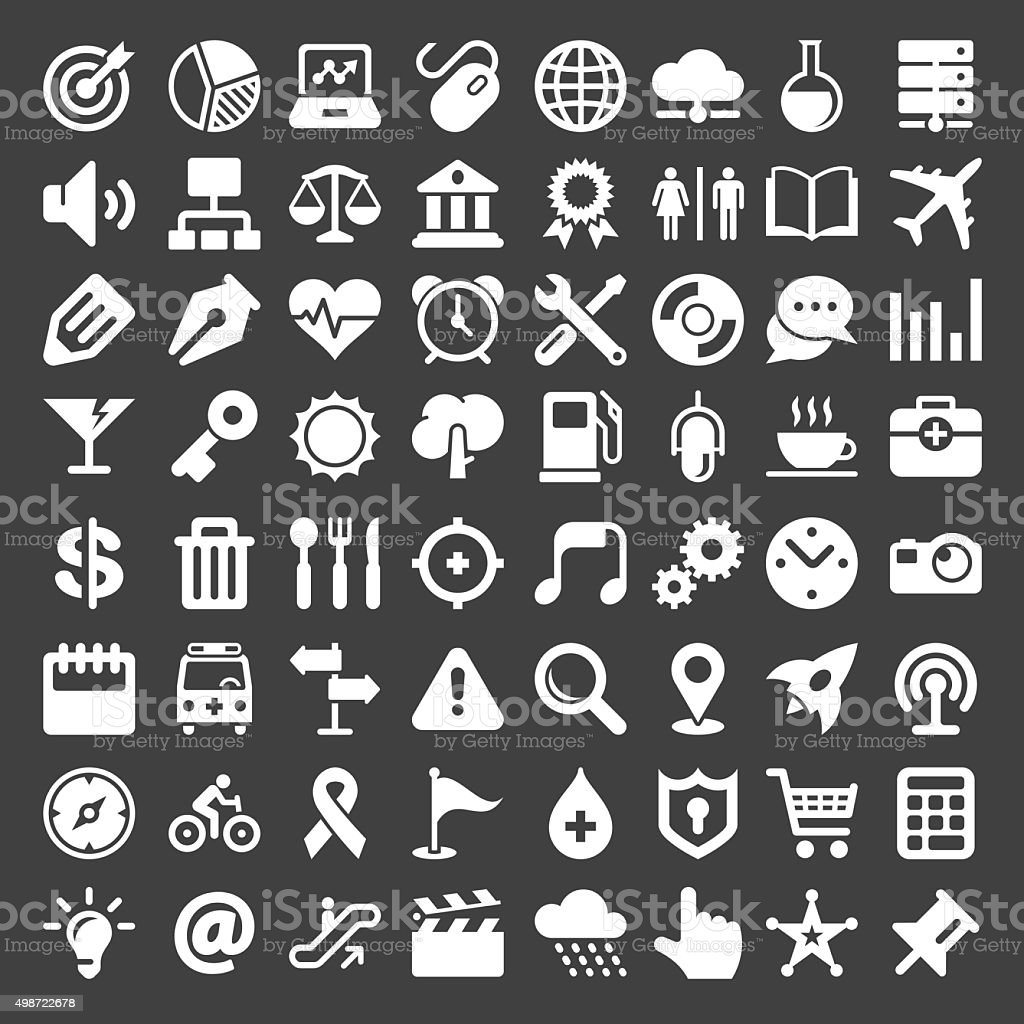 Universal Icon 64 Icons - White Series vector art illustration