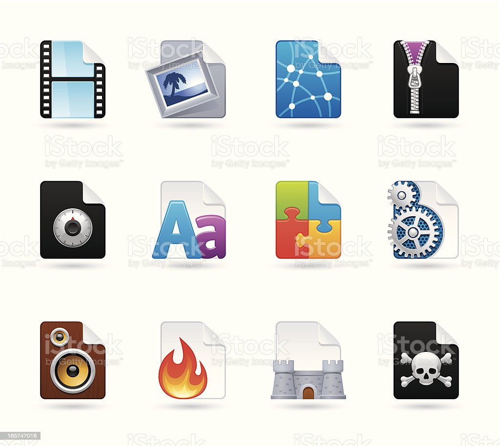 Universal icons - Files royalty-free stock vector art