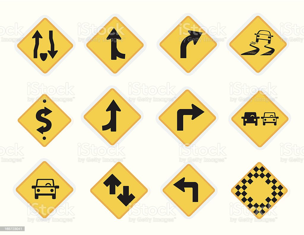 Universal Icons Road signs vector art illustration