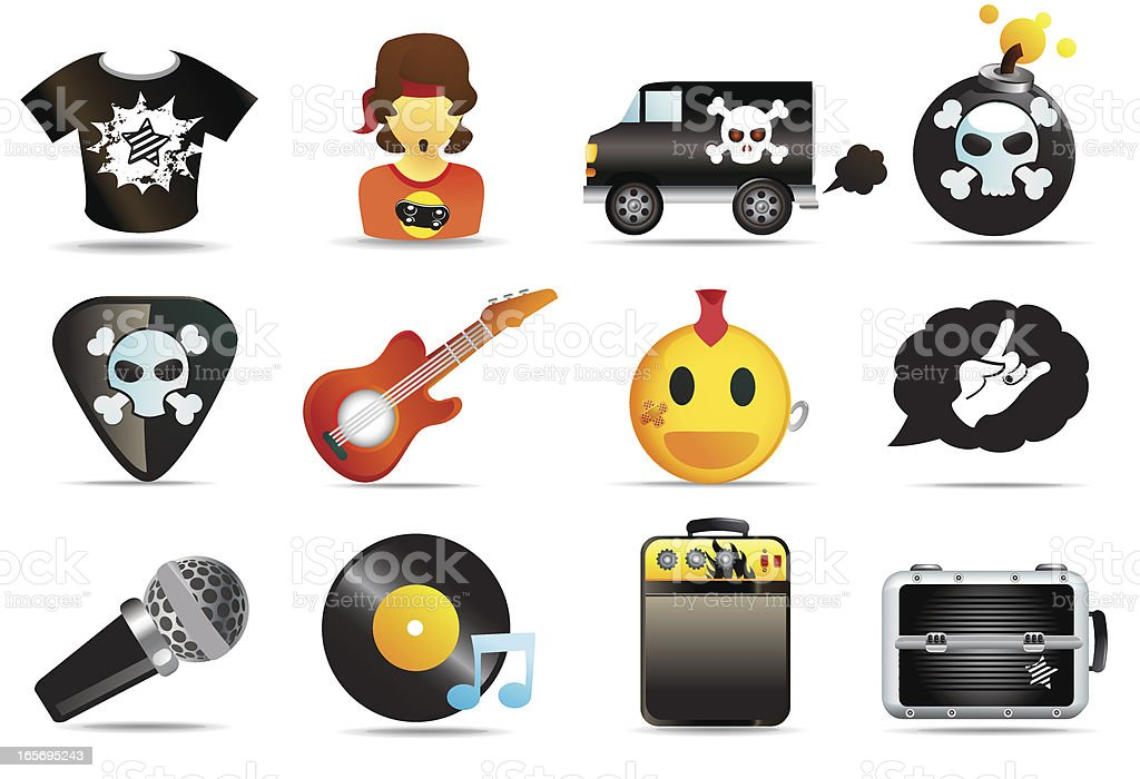 Universal Icons Rock and Roll Music vector art illustration