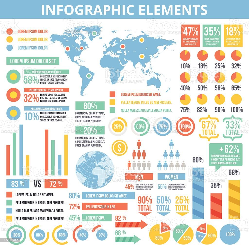 Universal infographic elements set vector art illustration