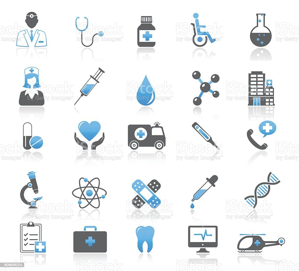Universal Medical Icons Set vector art illustration