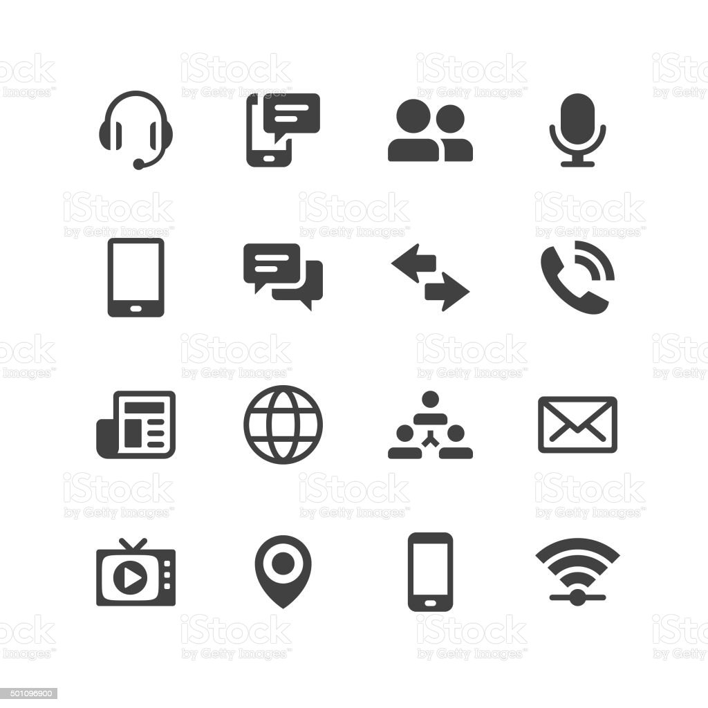 Universal Mobile Icons vector art illustration