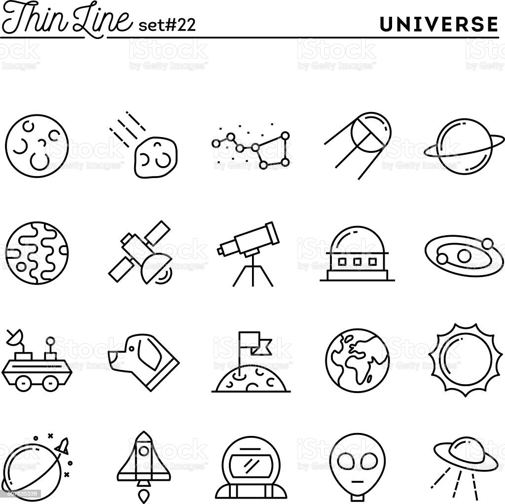 Universe, celestial bodies, rocket launching, astronomy and more vector art illustration
