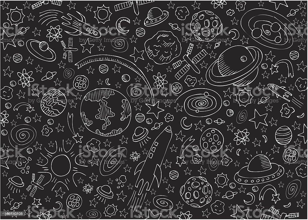 Universe chaos vector art illustration
