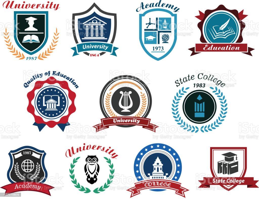 University, academy and college emblems set vector art illustration