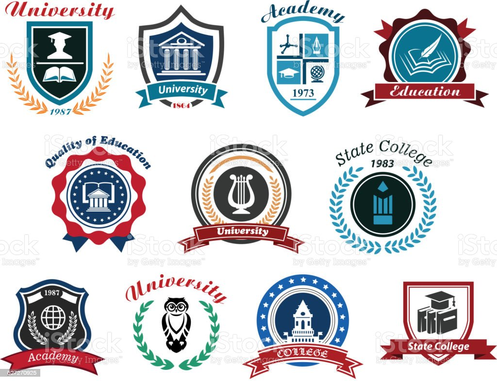 University, academy and college emblems set vector art illustration