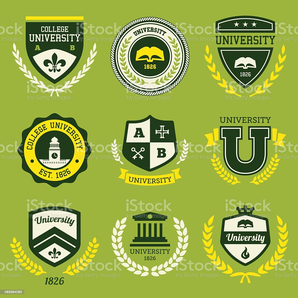 University crests vector art illustration