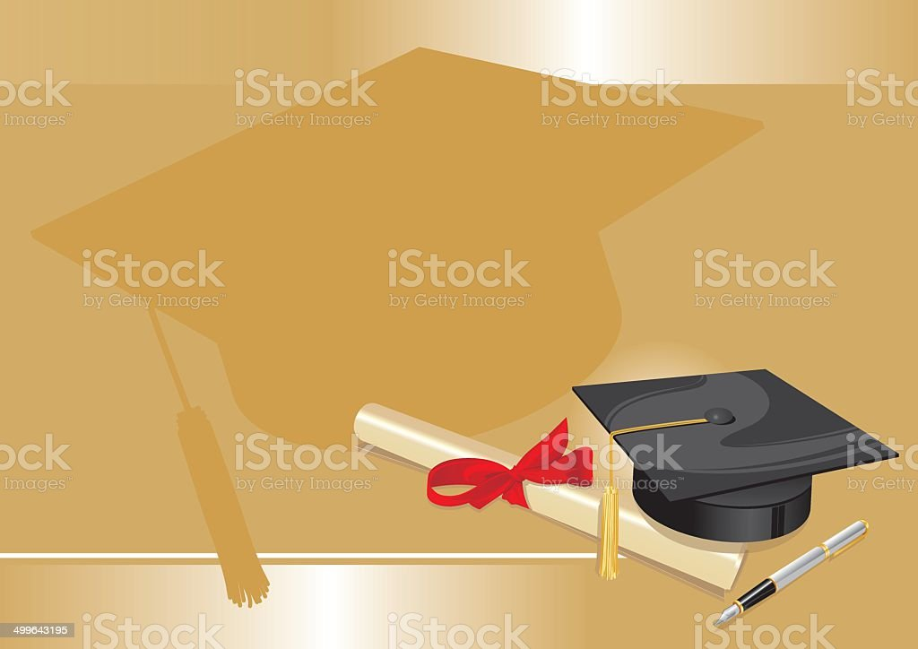 university degree college greeting card gold.cdr vector art illustration